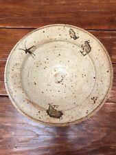 "MIK STUDIO POTTERY Serving BOWL Art Pottery Animal Prints 3.5X10"""