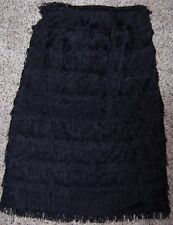 EXPRESS Black Long Tiered Flapper Style Tassel Fringe Straight Skirt Size 2 NWT