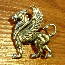 FREE Shipping, Solid Large 14K Full Body Golden Griffin Or Dragon Pin / Pendant