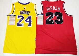 """Bulls, Lakers """"GOAT + MAMBA"""" #23, #24 Autographed 2 Jerseys + COA, Certified"""