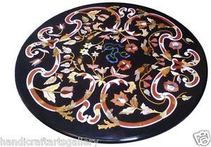 "36""x36"" Marble Dining Coffee Table Top Mosaic Inlaid Pietradura Home Décor Work"