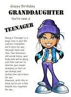 Happy Birthday Teenage Granddaughter Humorous Funny Birthday Card Teenager 13th