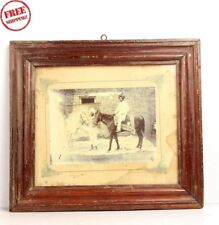 Old Vintage Men On Horse Wooden Framed Black & White Photograph Collectible 6115