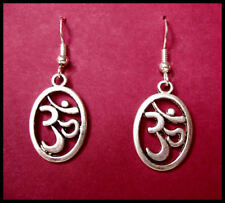 'OM' EARRINGS - ANTIQUE TIBETAN SILVER
