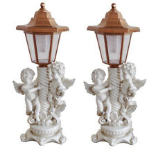Pair Solar Cherub Angel 2 X Garden Lamp Post Lights LED Lighting Wall Patio