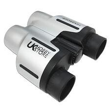 10x Magnification Silver Binoculars 10x25 Light & Compact / Festival / Handbag