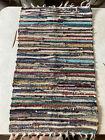 "Vintage Rag Rug Carpet Runner Multicolor 30"" x 18"""