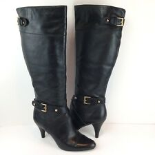 Steve Madden Women's Size 7 Heel Boots Black Leather Tall Slip On Buckle