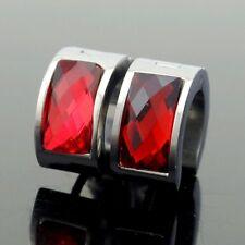 Acero Inoxidable Plateado Y Rojo Pendiente De Aro Unisex