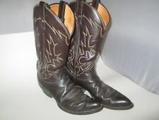 VINTAGE TONY LAMA 6283 COWBOY BOOTS  LEATHER EXOTIC WESTERN MEN 9 AA Brown