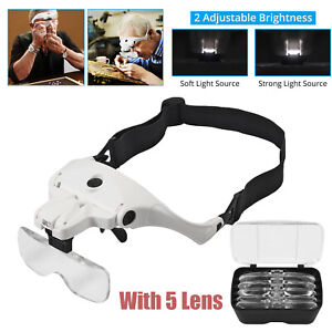 Magnifying Glass Head Magnifier LED Light Jeweler Headband Loupe USB With 5 Lens