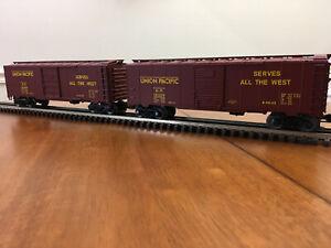 (2) Weaver [Crown] Union Pacific (UP) Steam Era Steel Box Cars [3 rail] - Used