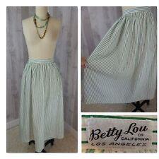 "1950s Vintage Skirt~Green & White Stripe Cotton Rockabilly 27""W Betty Lou Sml"