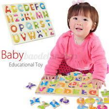 Wooden Alphabet Abc Jigsaw Puzzle Toy Children Kids Baby Learning Educational Us