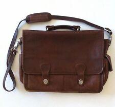 "Large 16"" Brown Leather Cross Body Flap Satchel Bag Briefcase Travel Case Purse"