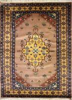 Rugstc 4x6 Pak Persian Beige Area Rug, Hand-Knotted,Medallion with Wool Pile