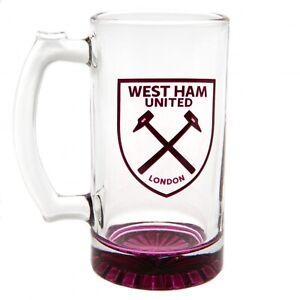 West Ham United FC Stein Glass Tankard CC - Beer Ale Lager Mug - Official Item
