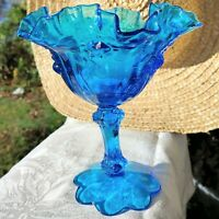 Vintage Fenton Blue Cabbage Rose Compote Crimped Wavy Rim Pedestal Candy Bowl