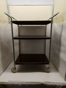 Vintage Metal Rolling Kitchen Cart, 3 Tier, Brown