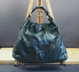 Vintage Authentic & Iconic Large Black Python Leather GUCCI Horsebit Hobo Bag