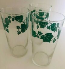 "SET of 3 Vtg FEDERAL 4.75"" Tall Clear Green IVY JUICE GLASSES Shield Logo"