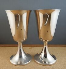 Beautiful Set of 2 Vintage Pilgrim Silver Plate Water Wine Goblets Stems 6 1/4""