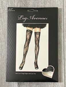 Leg Avenue Bow Lace Thigh Highs w/Lace Top One Size 90-160lbs Style 9655 Black
