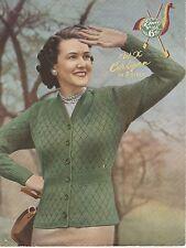 "Vintage retro photo copy Knitting Pattern  EMU 166 LADIES CARDIGAN  3 PLY 36-40"""