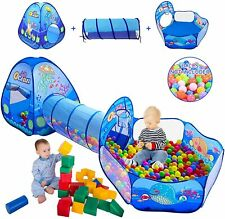 3 in 1 Crawl House Tunnel Portable Kids In/Outdoor Toddler Play Tent Ball Pit US