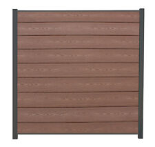 WPC Sichtschutzzaun Systemzaun Lamellenzaun Zaun redwood braun ca. 180 x 180 cm