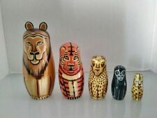 (5737) Set Of 5 Lion Big Cats Wooden Nesting Dolls - Animals
