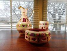Bohemia Glass White Cut to Cranberry HP Rose Garland Pitcher & Smoking Set