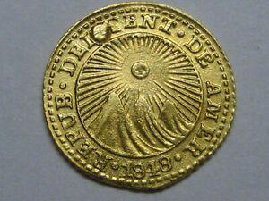 1848 1/2 HALF ESCUDO COSTA RICA GOLD COIN HIGH GRADE, CAPPED HOLE RARE