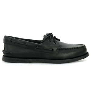 Sperry Top-Sider Men's A/O 2-Eye Black/Black Original Boat Shoes STS10497 NEW