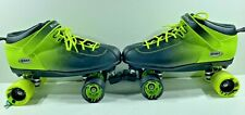 Riedell 2 Tone Dart 2 Black & Green Ombre Quad Roller Speed Skates Men's Size14
