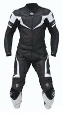 BLACK/WHITE-Motorbike/Motorcycle Leather Suit Racing-MotoGp-COUNTRY ROAD-UNISEX
