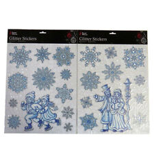Christmas Decorative Glitter Window Stickers - Pack of 2 - S'flakes, Ice Skating