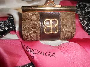 Porte-monnaie Balenciaga forme sac docteur cuir et tissu