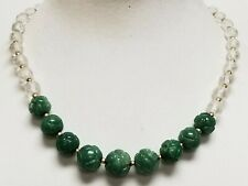 """Vintage Deco Carved Aventurine & Multi-Faceted Clear Crystal Bead Necklace 18"""""""