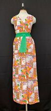 Vtg 70s Floral Patchwork Dress Party MAXI Psychedelic Pansy Printed Seersucker S