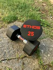BRAND NEW Ethos 25LB PAIR OF RUBBER HEX DUMBBELLS WEIGHTS 50lb Total Free ship!