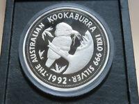 Australia. 1992 1 kilo - Silver Kookaburra. (32+oz silver).. Proof in Case