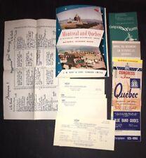 Vintage 9+ pc Lot 1955 Quebec Canada Travel Brochures Menu Hotel Stationary etc