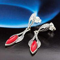 Koralle Silber 925 Ohrringe Damen Schmuck Sterlingsilber S228