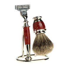 Edwin Jagger Briarwood 3piece Shaving Set for Men S281M213. Mach3, Badger Hair