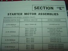 """MERCURY OUTBOARD PARTS """"SECTION E"""" OLDER ELECTRIC STARTER PARTS MANUAL"""
