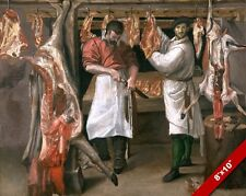 MEN BROTHERS IN THE BUTCHER'S SHOP MEAT HANGING PAINTING ART REAL CANVAS PRINT
