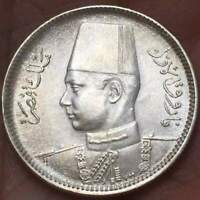 1937 (AH 1356) EGYPT 2 PIASTRES KING FAROUK .833 SILVER **AU/UNC** COIN  LOT #01
