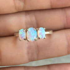 Handmade Opal Three Stone Engagement Anniversary Ring Band Sterling Silver