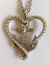 Brighton Anchored in Love Seas the Day Heart Anchor Necklace NWT